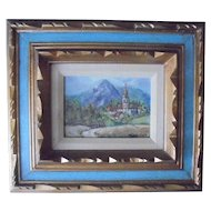 """Country Castle"" Oil Painting Miniature Landscape by Jean Smith Ornate Carved Wood Frame"