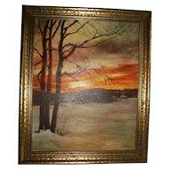 1965 Maryland 1st Place Towson Art Show Oil Painting Sunset Gunpowder Falls