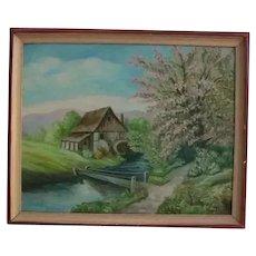 1920s Oil Painting Quaint Cottage by Footbridge Country Landscape Signed