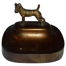 Wired Hair or Airedale Terrier Art Deco Card Holder Tray Dog Bronze Vintage Metalware