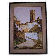 Large San Gimignano Italy Beautiful Mid-Century Florence  Landscape