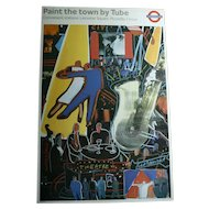 "Picadilly Circus 1980s London Underground Nightlife ""Paint The Town By Tube"" Original Lithograph Art Poster Jazz Dancing Theater"