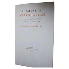 Rare Book 1897 Signed Antique Rubaiyat of Omar Khayyam Richard Le Gallienne Limited Edition Brentano's Bookstore Label NYC Oscar Wilde