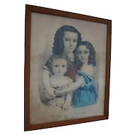 Currier & Ives Three Little Sisters 1862 Hand Colored Lithograph Very Rare