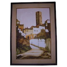 Large San Gimignano Italy Beautiful Mid Century Oil Painting Florence Landscape