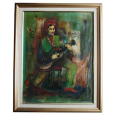 Mid-Century Cubist Oil Painting Man With Guitar Signed Modern Modernist
