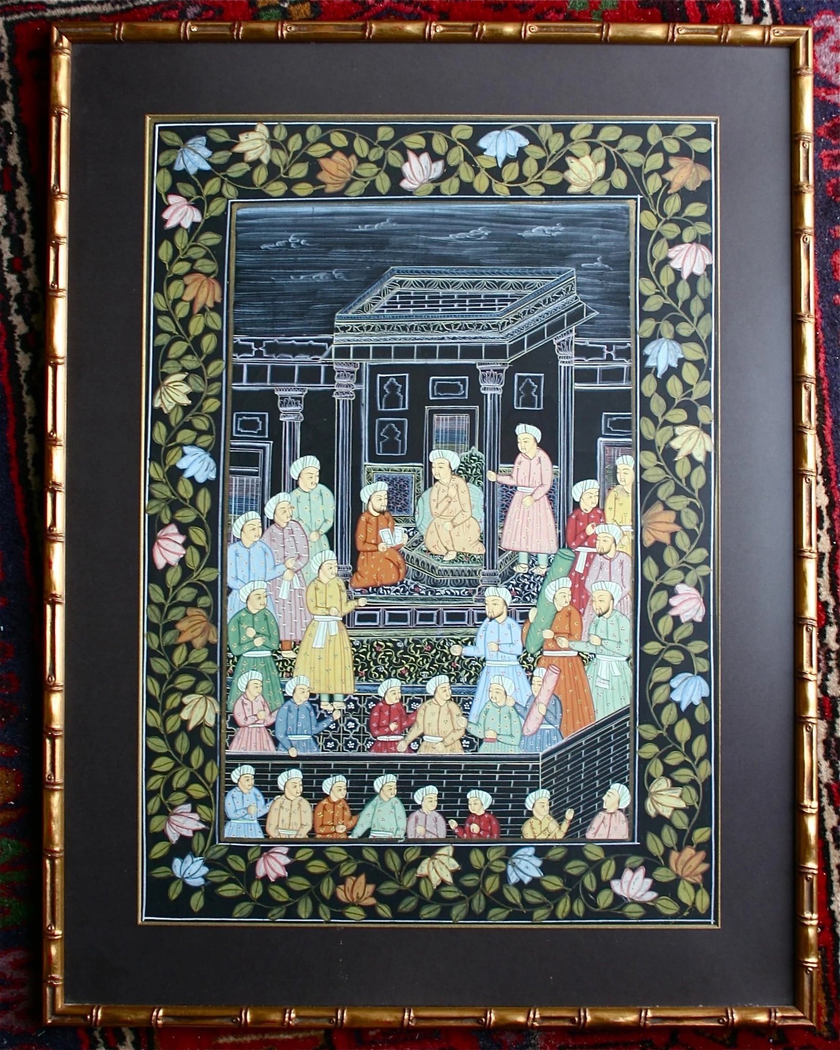 Large Original Mughal Painting On Silk Palace Scene Floral