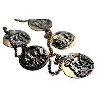 Modernist Anne Klein Couture Repousse Lions & Tigers Charm Disc Necklace
