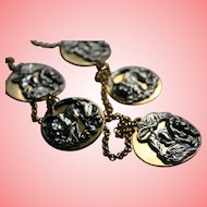 Modernist Anne Klein Couture Repousse Lions & Tigers Charm Disc Necklace