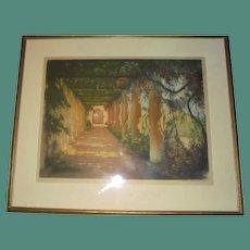 1923 Paris William A Lambrecht Garden Large Aquatint Etching Hand Signed Pub by Les Gravures Modernes Paris Spring Floral