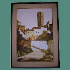 Large San Gimignano Italy Beautiful Mid Century Oil Painting Florence Landscape