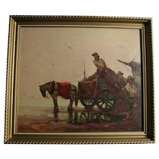 """Horse and Wagon on Beach """"Bringing The Catch To Market""""  Fishing Boat and Merchant Vintage Print on Canvas Board European"""