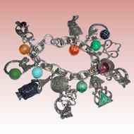 Rare Selro Egyptian Revival Signed Charm Bracelet 17 Charms