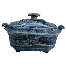 Georgian Antique Piping Shepherd English Blue & White Transferware Pearlware Large Tureen 19th Century