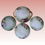 Antique Limoges Pink Roses Hand Painted Serving Tray and Dessert Plates Set 1911 T&V France Artist Initial Signed Gold Gilt Trim Tresseman and Vogt
