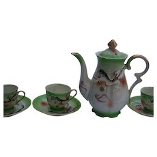Green Dragonware Figural Raised Moriage Painted Japanese Tea Set Teapot Demitasse Cups  and Saucers Service for 4 Beautiful 10 Pc