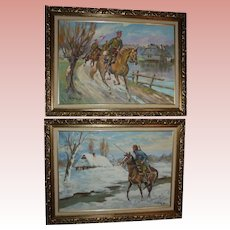 Pair Polish Cavalry Soldiers on Horse Back Oil Paintings in Ornate Gold Wood Frames Poland Landscape