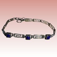 Lapis Sterling Greek Key Design Link Bracelet Sterling Silver Lapis Lazuli