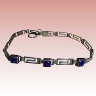 Lapis Sterling Greek Key Design Link Bracelet Sterling Silver Lapis Lazuli
