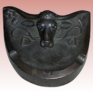 Bronze Texas Longhorn Sculpture Desk Pen Card Holder Ashtray Southwest Cattle Steer