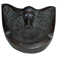 Bronze Texas Longhorn Sculpture Desk Pen Card Holder Ashtray Southwest Cattle Steer