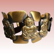 Joseff of Hollywood Unsigned Buddha Figural Antiqued Gold Tone  Panel Vintage Bracelet