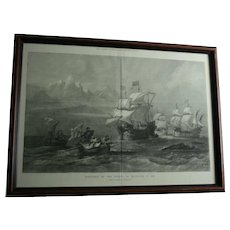 """1873 """"Discovery of the Straits of Magellan"""" Engraving London Illustrated News Extra Special Supplement Framed Maritime Art Antique"""