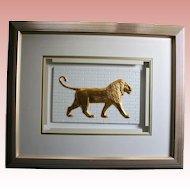 """Lion"" by Waldorf Astoria NYC Artist Harris G Strong Framed 3D Fine Art Tile Legendary Ceramic Mid Century Artist"