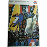"""Picadilly Circus 1980s London Underground Nightlife """"Paint The Town By Tube"""" Original Lithograph Art Poster Jazz Dancing Theater"""