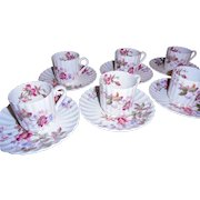 Beautiful Copeland Spode Floral Demitasse Set Service For Six Cups Saucers English China