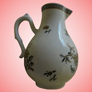 Limoges Reeves Washington and Lee University Collection Beautiful Black White Floral Creamer Miniature Pitcher 1975