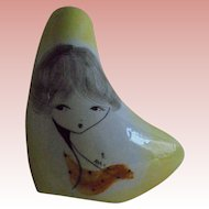 Mid Century Mod Big Eyed Girl Face Modernist Hand Painted Bud Vase Italy Artist Signed Abstract