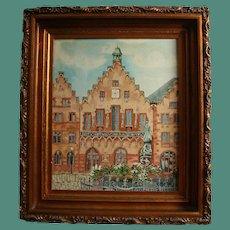 Frankfurt Germany Market Square Oil Painting in Gorgeous Carved Wood Frame Famed Christmas Holiday Market