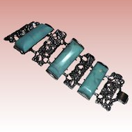 """Huge Chunky Faux Turquoise 2"""" wide Panel Bracelet Unsigned Selro"""