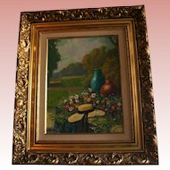 Floral Garden Scene Original Landscape Oil Painting in Ornate Gilt Frame Fashion Hat Signed