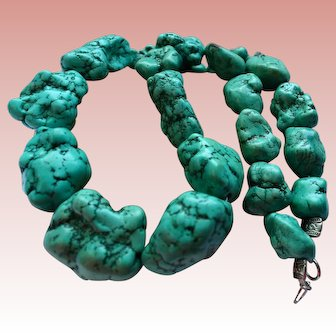 Massive 325 gram Turquoise Nugget Graduated Bead Chunky Necklace with Matrix