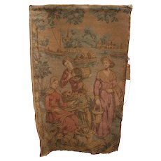 "Antique French Tapestry Harvest Scene Wall Hanging 50"" x 35"" inch Made in France"