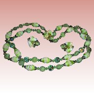 Lime Green Nouveau Egg Shaped Sugar Bead Art Glass Faceted Crystal Necklace & Earrings Set