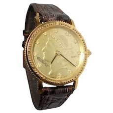 Liberty Head Wrist Watch by Dufonte / Lucien Picard Snake Skin Strap Ladies Timepiece
