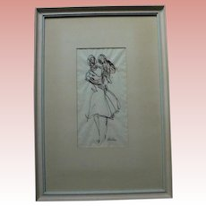 Mother and Child Ink and Watercolor Modernist Drawing Artist Signed Beacham Mother's Day