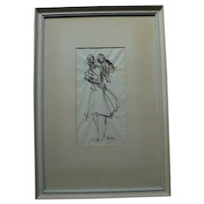 Mother and Child Ink and Watercolor Modernist Drawing Artist Signed Beacham