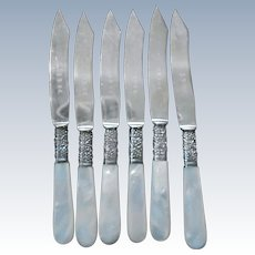Sterling and Mother of Pearl Antique Fruit Knives Set of Six