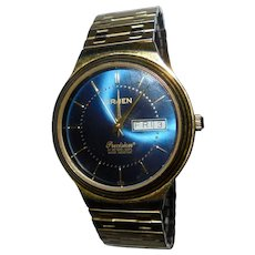 Rare Blue Mens Gruen Precision Vintage Wrist Watch Date Calender  Swiss Parts Beautiful Condition