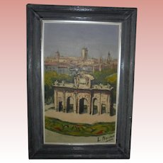 Cordoba Spain Castle Landscape Oil Painting Artist Signed Mid Century Spain