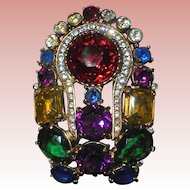 "Ultra Rare Eisenberg Large Rhinestone Multi-Color Crystal 3"" inch Brooch Signed"