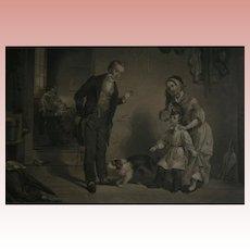 "1850 American Art Union Boy & Dog ""The New Scholar"" Antique Engraving"