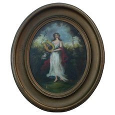 1860's Antique Oil Painting Portrait Young Woman Playing Harp Oval Frame
