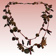 Vintage Glass & Wood Draping Bib Animal Theme Fetish Boho Necklace
