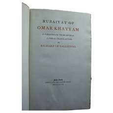 1897 Signed Antique Rubaiyat of Omar Khayyam Richard Le Gallienne Limited Edition Brentano's Bookstore Label NYC Friend Oscar Wilde
