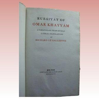 1897 Signed Antique Rubaiyat of Omar Khayyam Richard Le Gallienne Limited Edition Brentano's Bookstore Label NYC Friend Oscar Wilde